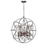 Industrial Solaris 6 Light Crystal Bronze Sphere Chandelier - Crystorama 9028-EB-CL-MWP