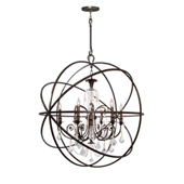 Industrial Solaris 6 Light Crystal Bronze Sphere Chandelier - Crystorama 9219-EB-CL-MWP
