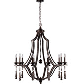 Transitional Parson 10 Light English Bronze Chandelier - Crystorama 9359-EB