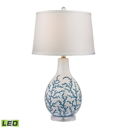 ELK Home D2478-LED Sixpenny Blue Coral LED Table Lamp in White