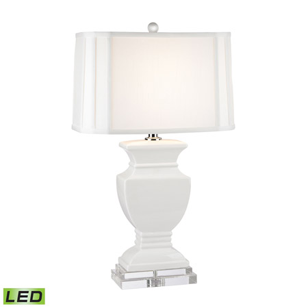 ELK Home D2634-LED Ceramic LED Table Lamp in Gloss White And Crystal