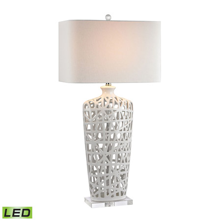 ELK Home D2637-LED Ceramic LED Table Lamp in Gloss White And Crystal