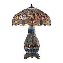 ELK Home 72079-3 Dragonfly Tiffany Glass Table Lamp in Tiffany Bronze