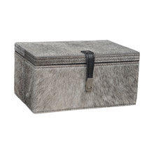 ELK Home 8819-022 Welsh Cob Grey Hairon Leather Box - Small