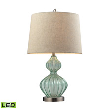 ELK Home D141-LED Smoked Glass LED Table Lamp In Pale Green With Metallic Linen Shade