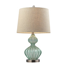 ELK Home D141 Smoked Glass Table Lamp In Pale Green With Metallic Linen Shade