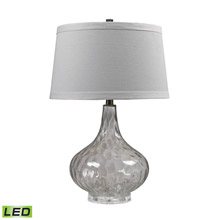 ELK Home D147-LED Clear Water Glass LED Table Lamp With White Linen Shade