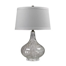 ELK Home D147 Clear Water Glass Table Lamp With White Linen Shade