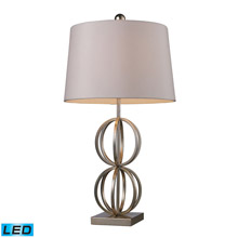 ELK Home D1494-LED Donora LED Table Lamp In Silver Leaf With Milano Off White Shade