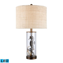 ELK Home D1980-LED Largo LED Table Lamp In Bronze And Clear Glass With Natural Linen Shade