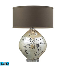 ELK Home D2262-LED Limerick Ceramic LED Table Lamp In Turrit Gloss Beige With Brown Linen Shade