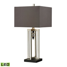 ELK Home D228-LED Silver Leaf LED Table Lamp With Crystal Accents And Grey Shade