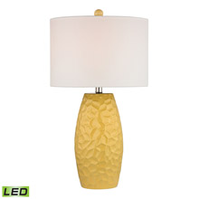 ELK Home D2500-LED Selsey Sunshine Yellow Ceramic LED Table Lamp With White Linen Shade