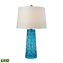 ELK Home D2619-LED Hammered Glass LED Table Lamp in Blue With Pure White Linen Shade