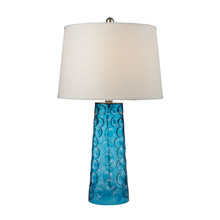 ELK Home D2619 Hammered Glass Table Lamp in Blue With Pure White Linen Shade