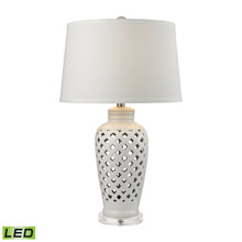 ELK Home D2621-LED Openwork Ceramic LED Table Lamp in White With White Shade