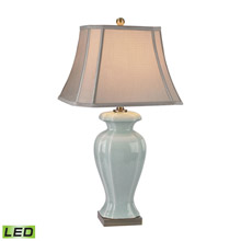 ELK Home D2632-LED Celadon LED Table Lamp in Glazed Green Ceramic With Antique Brass Accents