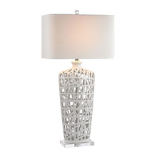 Dimond D2637 Ceramic Table Lamp in Gloss White And Crystal
