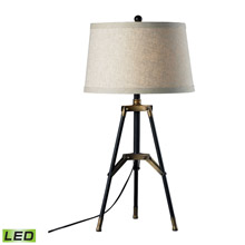 ELK Home D309-LED Functional Tripod LED Table Lamp in Restoration Black And Aged Gold