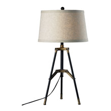 ELK Home D309 Functional Tripod Table Lamp In Restoration Black And Aged Gold