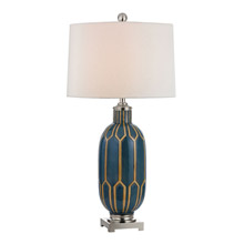 Dimond D351 Glazed Ceramic Table Lamp in Blue And Off White