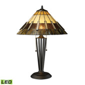 Traditional Porterdale 2 Light LED Table Lamp In Tiffany Bronze - ELK Home D1860-LED