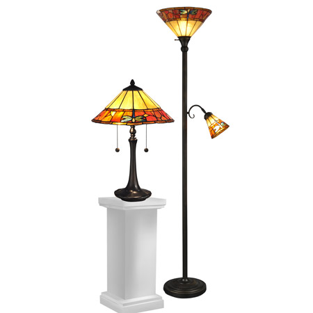 Dale Tiffany TC12178 Tiffany Genoa Table And Torchiere Lamp Combo Set (1 Of Each)