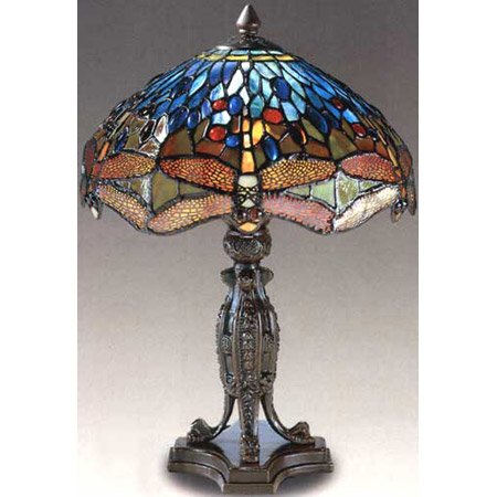 Lovely Dale Tiffany 7703/637 Tiffany Dragonfly Reproduction Table Lamp