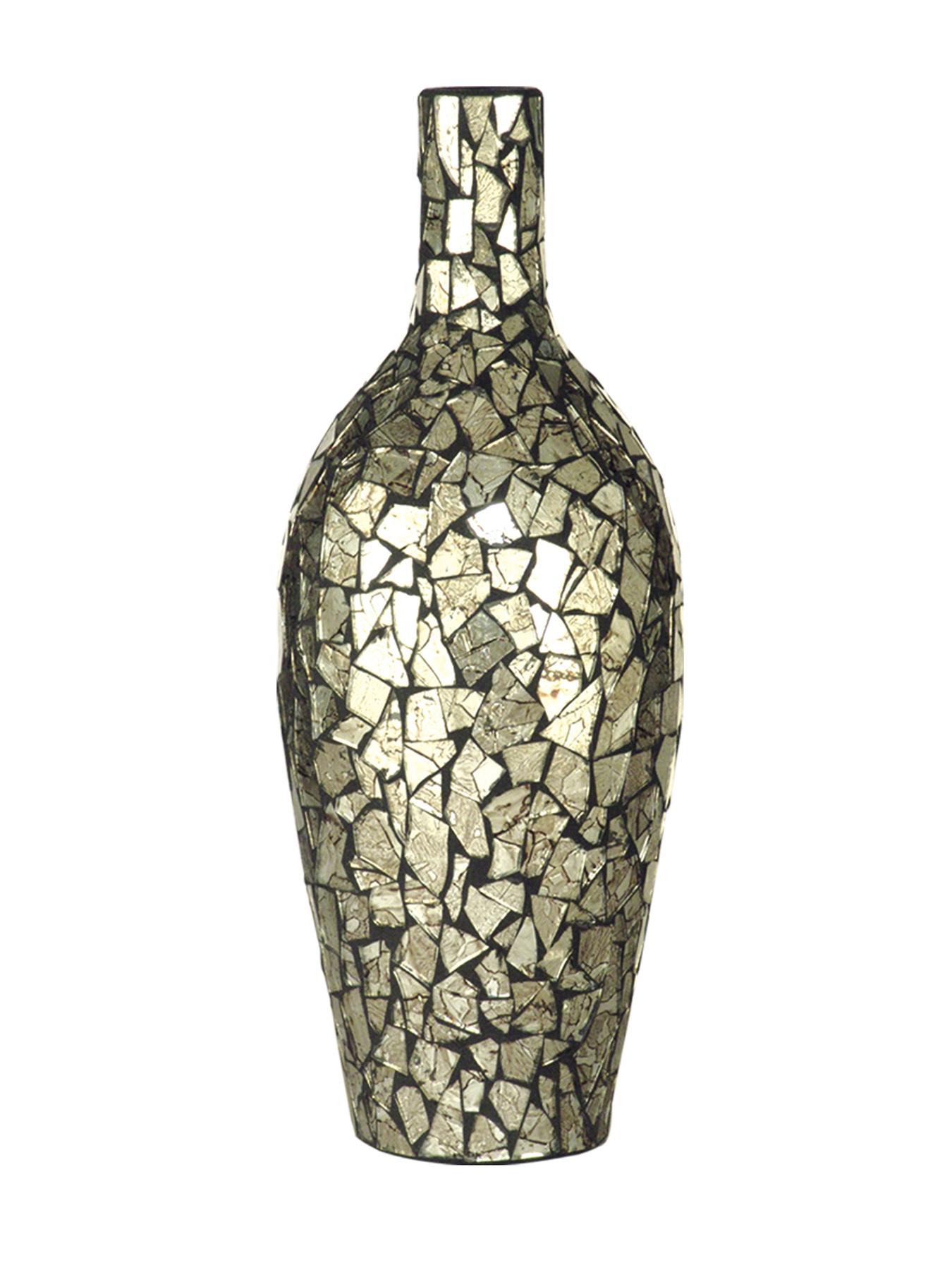 Dale Tiffany Pg10264 Silver Mosaic Art Vase