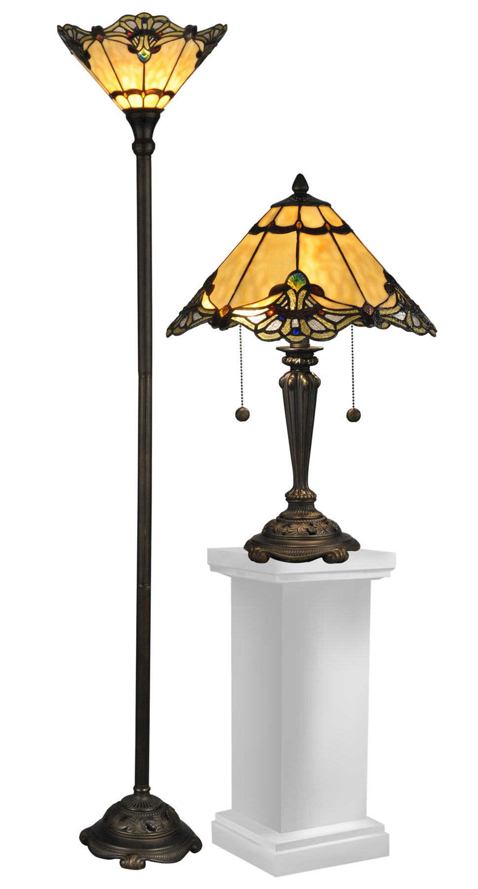 Dale Tiffany Tc12179 Tiffany Brena Table And Torchiere