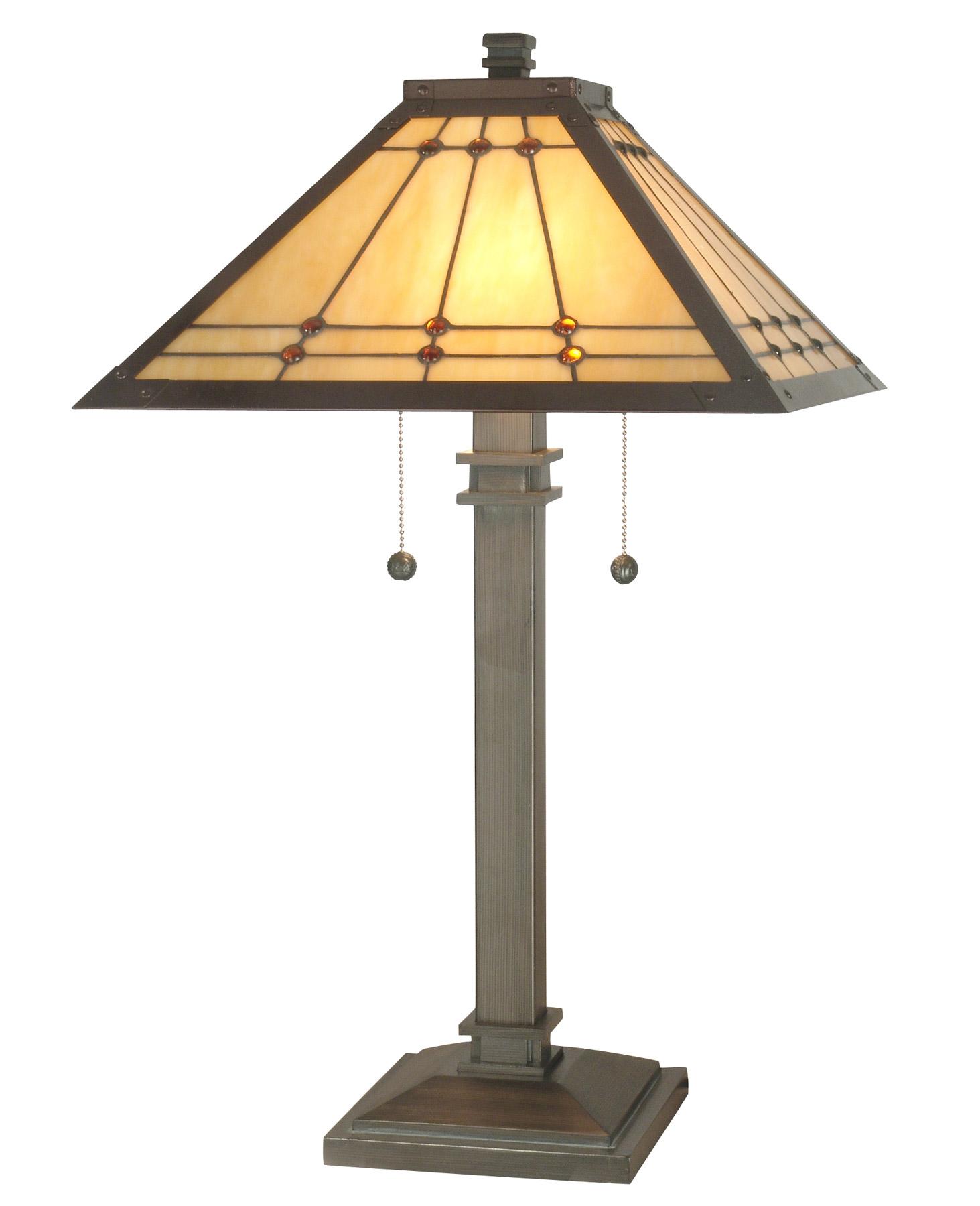 Dale Tiffany Tt70734 Craftsman Jeweled Mission Table Lamp