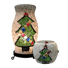 Dale Tiffany TAL100855 Xmas Tree Mosaic Accent Lamp And Votive Combo Pack