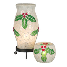 Dale Tiffany TAL100856 Xmas Holy Noel Mosaic Accent Lamp And Votive Combo Pack