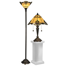 Dale Tiffany TC12179 Tiffany Brena Table And Torchiere Lamp Combo Set (1 Of Each)