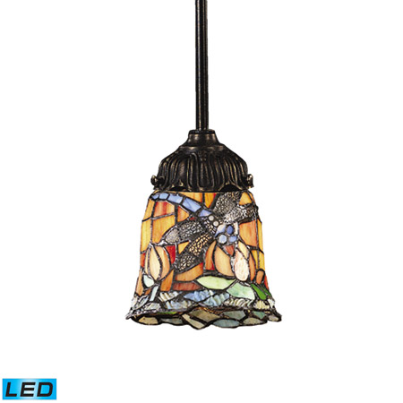 Elk Lighting 078-TB-12-LED Tiffany Mix-N-Match 1 Light LED Pendant In Tiffany Bronze And Multicolor Glass