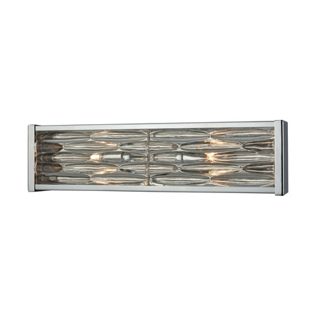 Elk Lighting 11101/2 2-Light Vanity Sconce in Polished Chrome with Stacked River Stone Glass