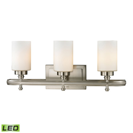 Elk Lighting 11662/3-LED Dawson 3 Light LED Vanity In Brushed Nickel And Opal White Glass