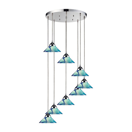 Elk Lighting 1477/8R-CAR Refraction 8 Light Multi Pendant Fixture In Polished Chrome and Caribbean Glass