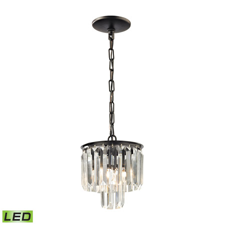 Elk Lighting 15224/1-LED Crystal Palacial 1 Light LED Pendant In Oil Rubbed Bronze