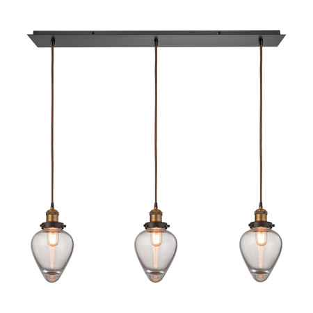 Elk Lighting 16325/3LP Bartram 3 Light Pendant In Oil Rubbed Bronze And Antique Brass