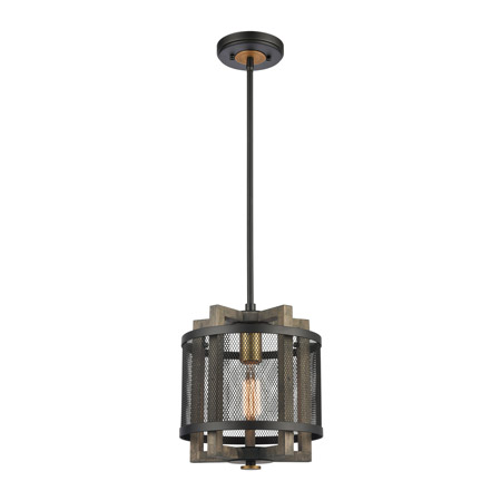 Elk Lighting 16546/1 1-Light Mini Pendant in Weathered Oak and Aged Brass with Matte Black Metal Mesh