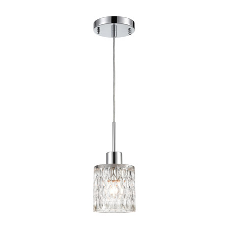 Elk Lighting 17424/1 1-Light Mini Pendant in Polished Chrome with Textured Clear Crystal