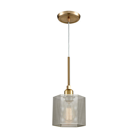 Elk Lighting 21112/1 1-Light Mini Pendant in Satin Brass with Perforated Metal Shade