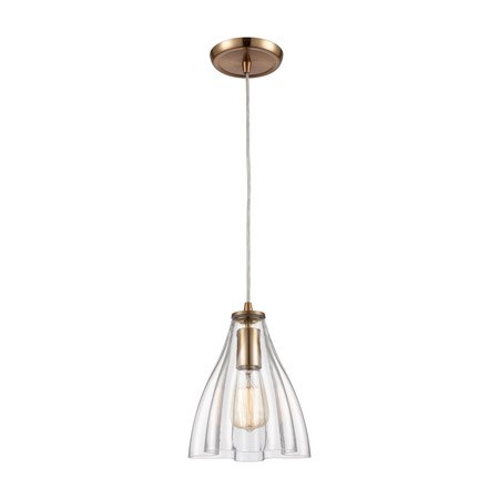 Elk Lighting 21172/1 1-Light Mini Pendant in Satin Brass with Clear Wavy Glass