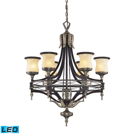 Elk Lighting 2431/6-LED Georgian Court 6 Light LED Chandelier In Antique Bronze And Dark Umber