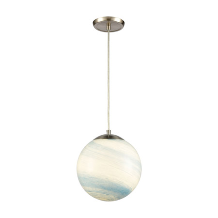 Elk Lighting 30180/1 1-Light Mini Pendant in Satin Nickel with Swirling Blue and White glass