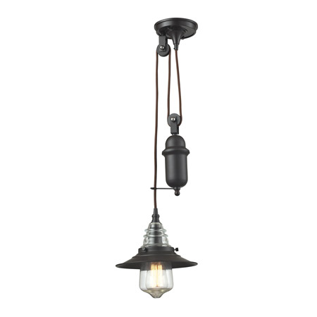 Elk Lighting 66843-1 Insulator Glass 1 Light Pulldown Pendant In Oil Rubbed Bronze