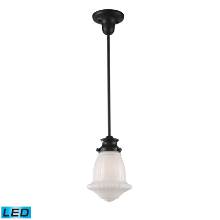 Elk Lighting 69039-1-LED Schoolhouse Pendants 1 Light LED Pendant In Oiled Bronze And White Glass