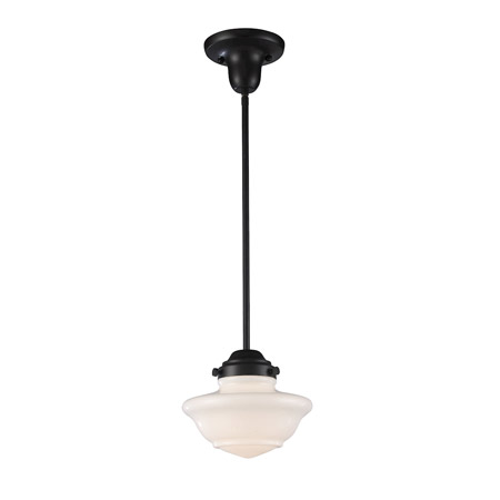 Elk Lighting 69052-1 1-Light Mini Pendant in Oiled Bronze with White Glass