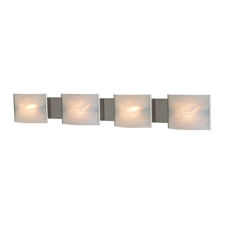 Elk Lighting BV714-6-16 4-Light Vanity Sconce in Stainless Steel with Hand-formed White Alabaster Glass